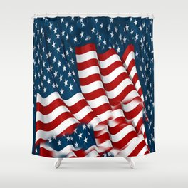 "ORIGINAL  AMERICANA FLAG ART ""STARS N' BARS"" PATTERNS Shower Curtain"