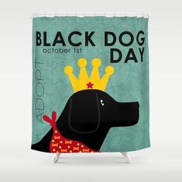 Black Dog Day Royal Crown Shower Curtain