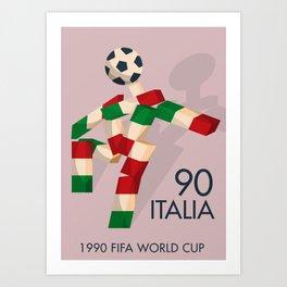 Vintage World Cup poster, Ciao, Italia 90 mascot, old football print Art Print