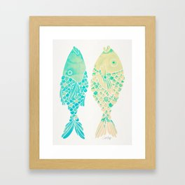 Indonesian Fish Duo – Turquoise & Cream Palette Framed Art Print