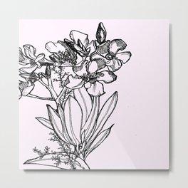 flower in black ink Metal Print