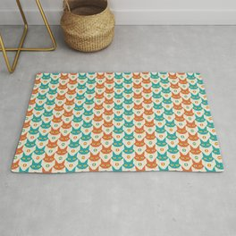 Mid-century Modern Abstract Cat Pattern, Vintage Cats in Orange and Teal Color Rug