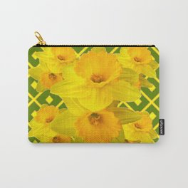 Moss Green Yellow Spring Daffodils Art Carry-All Pouch