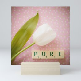 Pure - White Tulip with Scrabble Tiles Mini Art Print