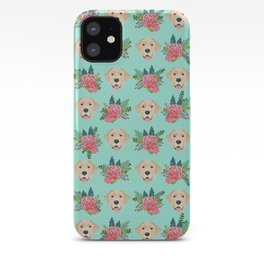 Yellow Labrador Retriever floral bouquet flowers yellow lab dog breed pattern gifts iPhone Case