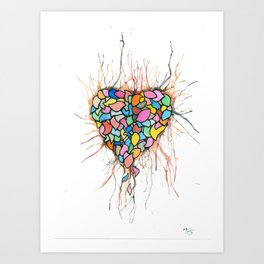 Layered Hearts Stay As One Art Print