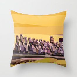 Geometric Easter Island Throw Pillow