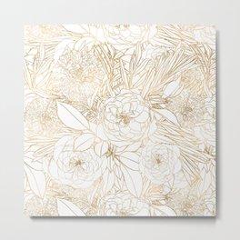 Trendy Gold Roses & Marigold Flowers White Design Metal Print