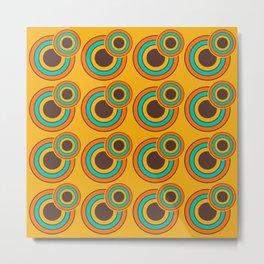 1970's Retro Circles Design Orange Brown & Blue Metal Print
