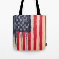 america Tote Bags featuring America  by Matt Pecson