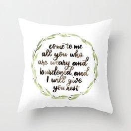 Matthew 11:28 Wreath Throw Pillow