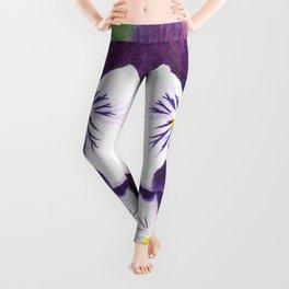 Purple and white pansies flowers Leggings