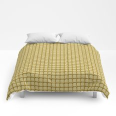 Golden Yellow Industrial Grid and Rivet Grill Pattern Comforters