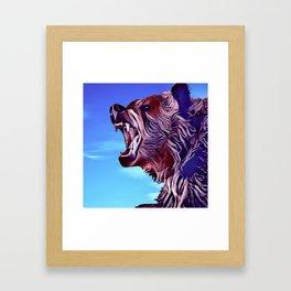 Growling Grizzly Bear Framed Art Print