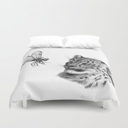 Snow leopard cub and dragonfy G148 Duvet Cover
