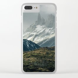 Menacing Mountain peaks with fog coming in Clear iPhone Case