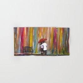 Love in the Rain romantic painting by Manjiri Kanvinde Hand & Bath Towel