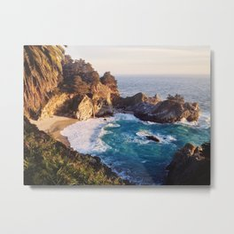 Golden Sunshine on California Waterfall - Big Sur Metal Print
