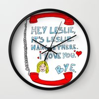 leslie knope Wall Clocks featuring Hey Leslie, It's Leslie by nubbinsammy