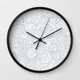 Background Zentangle (doodle) flowers Wall Clock