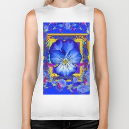 DECORATIVE BLUE PANSY & VINING  MORNING GLORIES Biker Tank