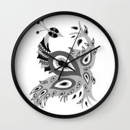 Peacock – Grey Palette Wall Clock
