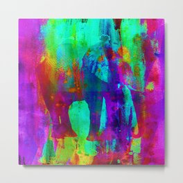 Watercolour Elephant QQ Metal Print
