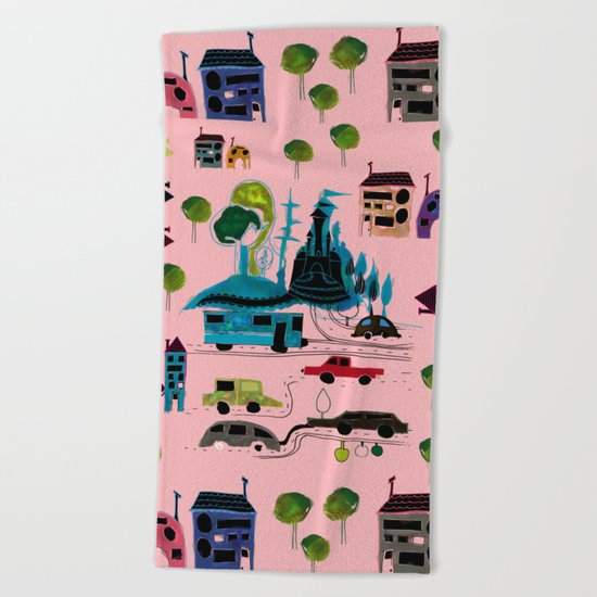 CityView pink Beach Towel