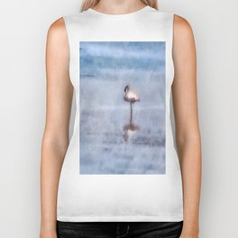 Watercolor Flamingo Biker Tank