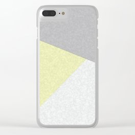 Yellow, gray, white, pechvork. Clear iPhone Case