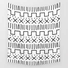 White + Black Mud Cloth Wall Tapestry