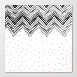 Geometrical black blush pink polka dots chevron Canvas Print