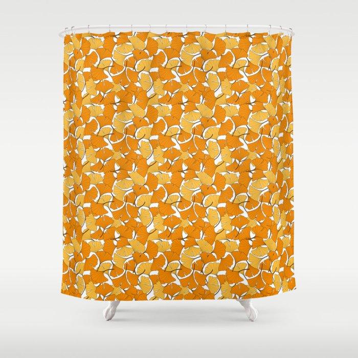 ginkgo leaves (orange) Shower Curtain