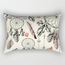 Bohemian print design with hand drawn dreamcatchers and feathers Rectangular Pillow
