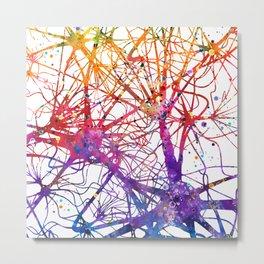 Neural Network Watercolor Neurologist Gifts Metal Print