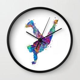 Hip-Hop Boy Colorful Watercor Dancer Gift Colorful Purple Watercolor Art Rap Music Gift RnB Music Wall Clock