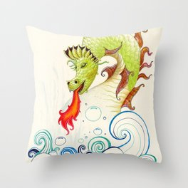 A happy dragon Throw Pillow