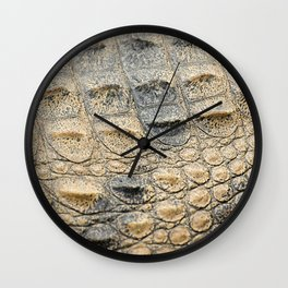 Freshwater crocodile texture Wall Clock