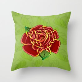 Celtic Knot Rose Throw Pillow
