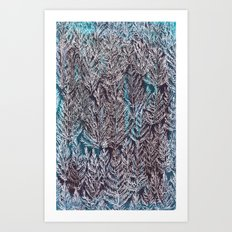 Snow Pines(Blue) Art Print