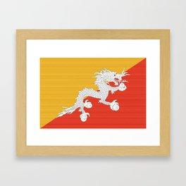 Bhutan Flag (Canvas Look) Framed Art Print