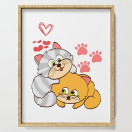 """A Cute Kitty Shirt For Cat Lovers Saying """"I Love Cats"""" Animal Animals T-shirt Design Meow Kitten Paw Serving Tray"""