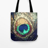 peacock feather Tote Bags featuring Peacock Feather  by Love2Snap
