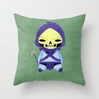 conan Throw Pillows featuring A Boy - Skeletor by Christophe Chiozzi