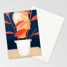 Modern Man with House Plant Stationery Cards
