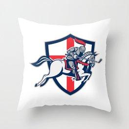 English Knight Golf Club Lance Shield Retro Throw Pillow