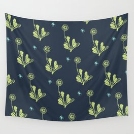 Spider Daisies (green + navy) Wall Tapestry