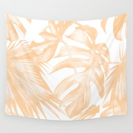 Island Vacation Hibiscus Palm Coral Wall Tapestry