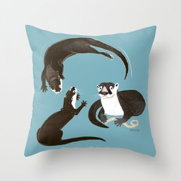 Asiatic and African clawless otter Throw Pillow