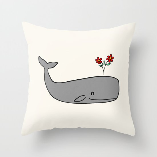 Peace Whale  Throw Pillow